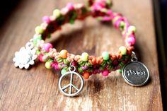 Peace Charm Bracelet Neon Macrame Hemp Bracelet by StacksHempCo