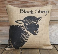 Burlap Pillow Cover of Black Sheep Decorative by TheWatsonShop, $38.00