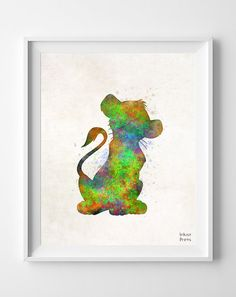 Simba Disney Poster Druck Wasserfarbe Babyparty von InkistPrints, $11.95