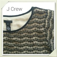 J Crew Lace Overlay Blouse Beautiful blouse by J Crew. Perfect delicate black lace over tan layer that prevents show through. Black edging at neck and sleeves keeps lace secure. Raw lace edge at hem allows draping and adds detail. Like new condition. No flaws, stains, or tears. Bundle 2 + items and save 10 % plus combined shipping! J. Crew Tops Blouses