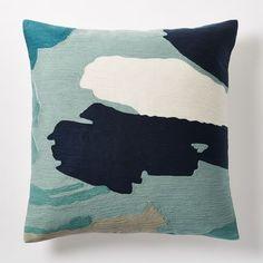 Modern Brushstroke Crewel Pillow Cover - Light Pool   west elm