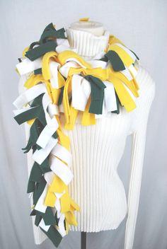 Fleece Fringed Scarf Muffler Green Bay Packers by twochixremix, $14.99