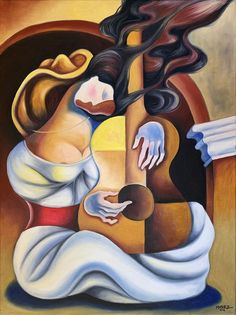 Art Print Reproduction, Cuban Art, Dream with Guitar, Modern Surrealist Abstract Original Painting by Miguez. Contemporary Home Wall Decor Oil Painting Pictures, Art Pictures, Stretched Canvas Prints, Canvas Art Prints, Cubist Art, Caribbean Art, Guitar Art, Illusion Art, Cool Art Drawings