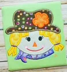 Scarecrow Girl Applique - 4 Sizes! | What's New | Machine Embroidery Designs | SWAKembroidery.com Creative Appliques