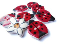 ONE Handmade Ceramic Red Ladybug Sewing Button, Pink, Purple, and Green, Colorful Bug Novelty Nature Focal Buttons, Kid's Clothing, Quilt