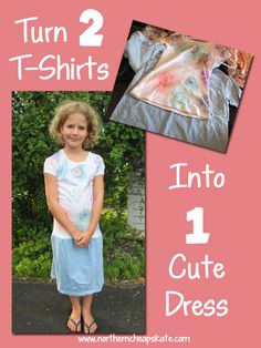You can easily turn 2 t-shirts into a dress with a little creativity and a free afternoon. Read the tutorial with photo instructions.