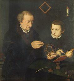 Nicolas Neufchâtel (ca. 1527 - ca. 1590), beter bekend als Lucidel, was een Vlaamse schilder en tekenaar. Hij werkte in Duitsland , het was een van de belangrijkste portretschilders van de 16e eeuw Portret van Johannes Neudorfer (1497 -  1563), een Duits wiskundige, die aan de hand van een dodecaëder  (twaalfvlak) wiskunde les geeft aan zijn zoon.