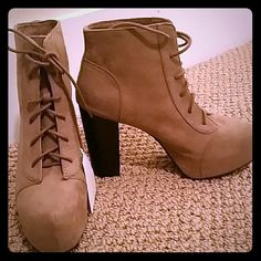 Nude Platform Booties Nude tie up platform booties never worn! Price tag still on. Comfortable and cute. H&M Shoes Lace Up Boots
