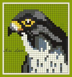 Indian falcon cross stitch. Cross Stitch Bird, Cross Stitch Animals, Cross Stitch Designs, Cross Stitching, Cross Stitch Patterns, Quilt Patterns, Pixel Crochet Blanket, C2c Crochet, Tapestry Crochet