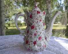 SALE Vintage Lefton Hand Painted Rose Chintz Pattern Coffee/Chocolate Pot #660R