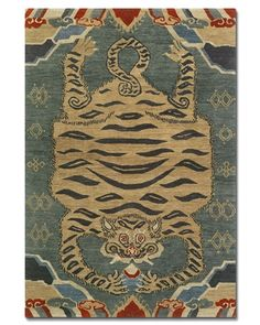 Tufenkian Carpets Kitty Play Ball Blue 4 x 6 Tiger Rug Tiger Rug, Rug Cleaning Services, Tibetan Rugs, Branding, Bedroom Carpet, Custom Rugs, Carpet Runner, Hand Knotted Rugs, Rugs On Carpet