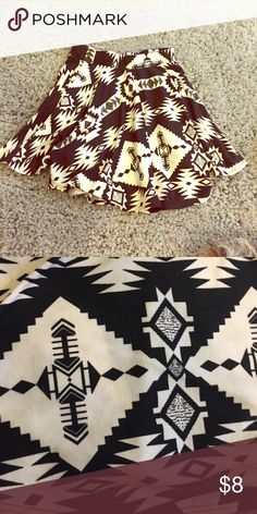 tribal skate skirt Black and white tribal skater skirt, perfect for winter or summer! Has comfortable thick band at top that stops from riding up! Forever 21 Skirts Circle & Skater