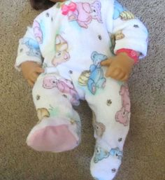 """Doll Clothes Custom Made Footed Sleeper PJ for 17"""" Baby Alive Real Surprises 