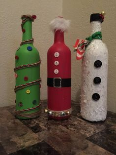 Repurposed Wine Bottle Christmas Decor by JonesHomeDecor on Etsy