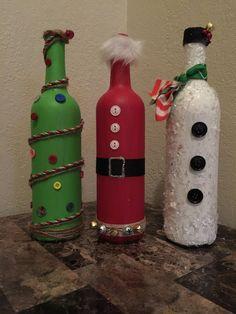 Repurposed Wine Bottle Christmas Decor by JonesHomeDecor on Etsy