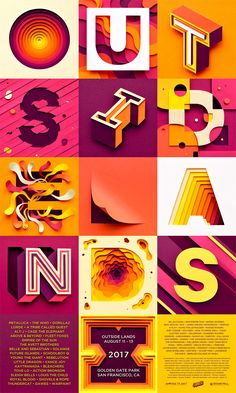 Outside Lands: Creative Paper Typography by Owen Gildersleeve – Inspiration Grid | Design Inspiration #typography #type #typographyinspiration #lettering #graphicdesign #designinspiration #design #poster #posterdesign #inspirationgrid