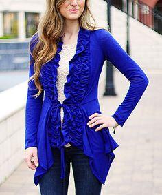 Look at this #zulilyfind! So Perla Royal Blue Ruffle Detail Cardigan by So Perla #zulilyfinds