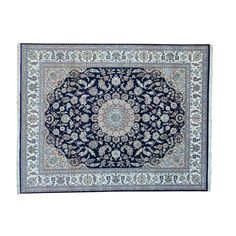 """1800getarug Navy Blue Wool and Silk Nain Hand-knotted Oriental Rug (8' x 10'3) (Exact Size: 8'0"""" x 10'3"""")"""