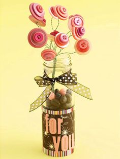 Create a Button Bouquet from Stash Supplies