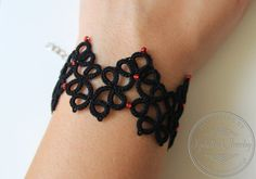 Items similar to Asteria - Lace tatted bracelet with beads/handmade cuff bracelet in black or other color on Etsy Hand Tats, Tatting Patterns, Statement Jewelry, Bracelets, Beads, Trending Outfits, Unique Jewelry, Handmade Gifts, Etsy