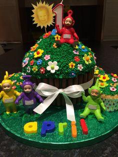 Teletubbies giant cupcake cake.