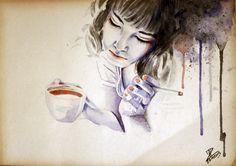 MoP_Coffee_01, Media: Watercolor on paper, Size: A4 (21 x 30 cm) by Miro Zgabaj https://www.facebook.com/pages/Miroslav-Zgabaj-Drawing-Painting/114161501988357?ref=aymt_homepage_panel