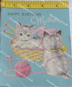 Vintage Greeting Card  Happy Birthday Mother by Pumpkintruckpaper
