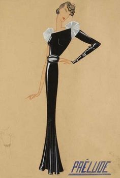 Jeanne Lanvin couture - Sketch of ' Prelude ', 1934-5.