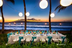 Gorgeous Maui wedding table set up! / www.mikesidney.com    The Wedding Lady - Exquisite Wedding Planning in Maui Hawaii and Vancouver BC    #weddinglady.com
