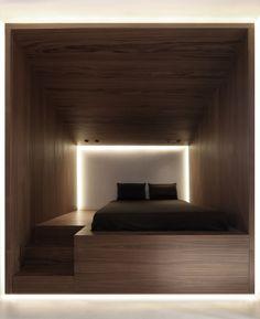 Private house in Penteli/Athens by Omniview. Wood Panel Walls, Wood Paneling, Wood Veneer, Wall Ideas, Hostel, Home Bedroom, Athens, Bedding, Sleep