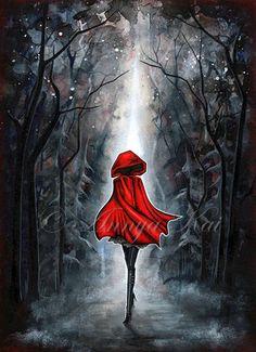 Little Red Riding Hood / / Dark Fantasy Art / / peinture gothique Goth mystique / / expédition de décor de mur de conte de fées sombre - gratuit