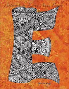 ACEO+Alphabet+Letter+E+zentangle+doodle+initial+by+IrelandBrady,+$1.00