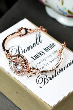 Rose Gold Bridal bracelet earrings necklace by thefabbridaljewelry, $15.99