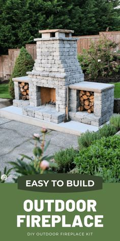 How to build an outdoor fireplace with a kit. Easy to build stacked stone DIY Fireplace project. See more on TodaysCreativeLife.com Build Outdoor Fireplace, Outside Fireplace, Backyard Fireplace, Diy Fireplace, Backyard Patio, Backyard Landscaping, Outdoor Fireplaces, Outdoor Fireplace Designs, Stacked Stone Fireplaces
