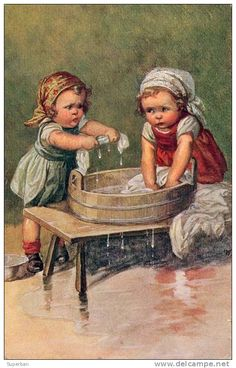 ENFANTS : FILLETTES... LAVANT Du LINGE - TRÈS BELLE ILLUSTRATION SIGNÉE: W. FIALKOWSKA (b-994) - Fialkowska, Wally