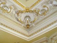 Gold Crown Molding Moulding Furniture In Ceiling Design And Blue Wall Molding, Crown Molding, Fabric Window Shades, Grey Wall Color, Gold Ceiling, Nerd Room, Bedroom False Ceiling Design, Purple Bedrooms, Main Door Design