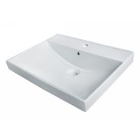 Madeli CB-8600-WH Universal Above Counter Rectangular Ceramic Basin, No Overflow White - eFaucets.com