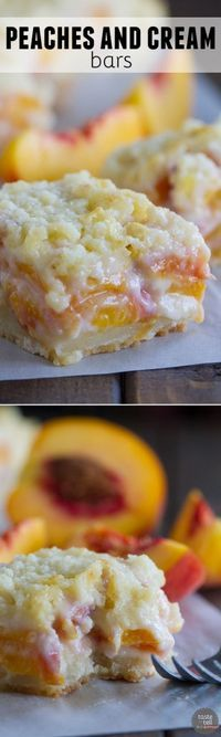 For a different take on a peach pie, try these Peaches and Cream Bars that have a shortbread crust, a creamy peach filling and a crumble topping.
