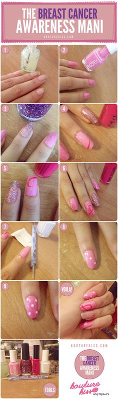 DIY - Breast cancer awareness nail art tutorial.