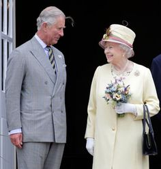 The Queen and The Prince of Wales smile as they survey the restoration work at…