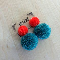Handmade Two-Tone Double Pom Earrings Choose Your от EatDaRich