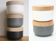 wood and earthenware food storage containers.  you could use the lids for small cutting boards too.