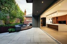 modern patio by Anston Paving Stones. Love the indoor that opens to the outdoor space! Pergola Patio, Backyard Patio Designs, Small Backyard Landscaping, Patio Ideas, Pergola Ideas, Pergola Kits, Small Patio, Landscaping Ideas, Modern Patio Doors