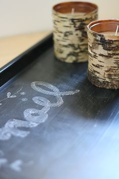 Upcycle a cookie tray into a charming Christmas gift: A chalkboard tray!
