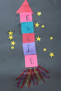 Preschool Crafts for Kids*: Name Rocket Space Craft @ Meghan Daly- this would be cute for a beginning of the year craft!