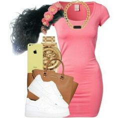 pink bodycon dress, white kicks, tan purse, gold jewelry, hair in bun Swag Outfits, Dope Outfits, Outfits For Teens, Casual Outfits, Summer Outfits, Girl Outfits, Fashion Outfits, Fashion Trends, Jordan Outfits