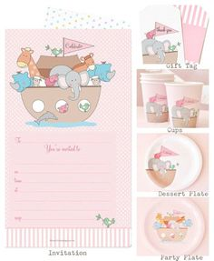 Really pretty and stylish Noahs Ark Pink partyware range. Great for a christening  or a birthday party.