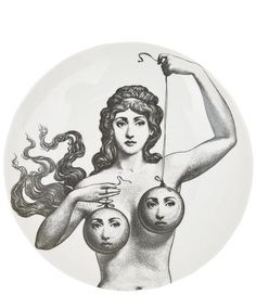 Shop Fornasetti Plate In Black from stores. On SALE now! China plate from Fornasetti featuring a black and white print of a woman holding two balloons with faces. Black And White Plates, Black White, Piero Fornasetti, Bild Tattoos, Arte Obscura, Occult Art, Plates On Wall, Plate Wall, Dark Art