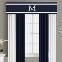 Valance Cornice Board Pelmet Box Window Treatment in Navy Blue | Etsy Valances & Cornices, Cornice Box, Valance Curtains, Curtains Living, Blue Curtains, Custom Valances, Curtain Hardware, Designer Pillow, White Trim