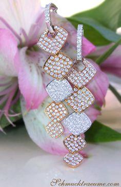 Elegant Tricolor Dangling Earrings with Brilliant Cut Diamonds | 2,35 ct. G VS2 | Yellow-, White- and Rosegold 18k - schmucktraeume.com